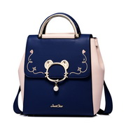 JUST STAR PU Leather 2017 New Contrast Color Backpack Blue