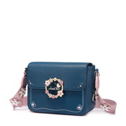 JUST STAR PU Leather 2017 New Delicate Flower Crossbody Bag Blue