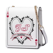 JUST STAR PU 2018 Special Playing Card Shoulder Bag White