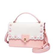 JUST STAR PU 2018 New Flower Cute Shoulder Bag Pink