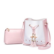 JUST STAR PU 2018 New Tassel Bucket Bag Pink