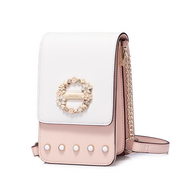 JUST STAR PU 2018 New Flower Pearl Messenger Bag Pink
