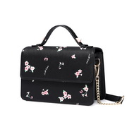 JUST STAR PU 2018 New Beautiful Flower Shoulder Bag Black L