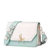 JUST STAR PU 2018 New Season Flower Shoulder Strap Bag Green