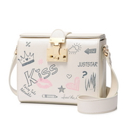 JUST STAR PU 2018 New Printing Student Box Bag Pearl White