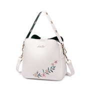 JUST STAR PU 2018 New Embroidery Bucket Bag White