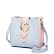 JUST STAR PU 2018 New Contrast Color Bucket Bag Blue