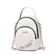 JUST STAR PU 2018 New Embroidery Messenger Bag White