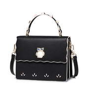 JUST STAR PU 2017 New Korea Style Stylish Rivet Shoulder Bag Black