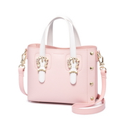 JUST STAR PU 2018 New Sweet Rivet Tote Bag Pink