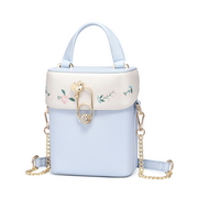 JUST STAR PU 2018 New Korea Style Embroidery Shoulder Bag Blue