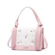 JUST STAR PU 2018 New Sweet Embroidery Shoulder Bag Pink