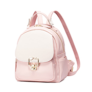 JUST STAR PU 2018 New Contrast Color Cute Backpack Pink