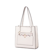 JUST STAR PU 2018 New Flower Large Tote Bag White