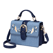 JUST STAR PU 2018 Jean Fabric Embroidery Shoulder Bag Blue