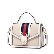 JUST STAR PU 2018 New Stylish Contrast Color Shoulder Bag White