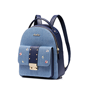 JUST STAR 2018 New Jean Fabric Embroidery Backpack Blue