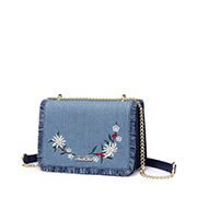 JUST STAR 2018 New Jean Fabric Embroidery Shoulder Bag Blue
