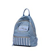 JUST STAR PU 2018 New Jean Fabric Embroidery Backpack Blue