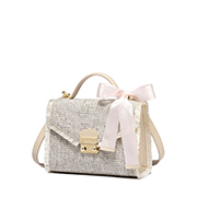 JUST STAR 2018 Coarse Linen Fabric Shoulder Bag Apricot