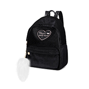 JUST STAR 2018 New Velour Cute Backpack Black