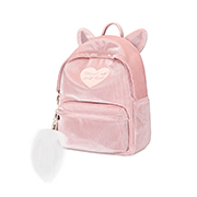 JUST STAR 2018 New Velour Cute Ear Backpack Black