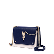 JUST STAR PU 2018 New Contrast Color Fashion Bag Blue