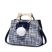 JUST STAR 2018 New Tweed Fabrics Handbag Blue