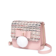 JUST STAR 2018 New Tweed Fabrics Shoulder Bag Pink