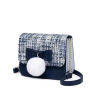 JUST STAR 2018 New Tweed Fabrics Shoulder Bag Blue