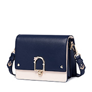JUST STAR PU 2018 New Contrast Color Shoulder Bag Blue