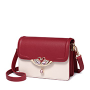 JUST STAR PU 2018 New Fashion Contrast Color Shoulder Bag Red