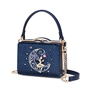 JUST STAR 2018 New Korean Velvet Box Bag Dream Blue