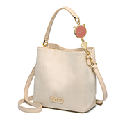 JUST STAR 2019 New Fashion Korean Frosted Bucket Bag Apricot