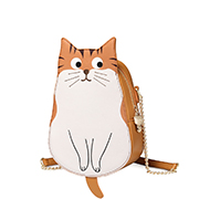 JUST STAR PU 2019 New Cute Cat Shoulder Bag Brown