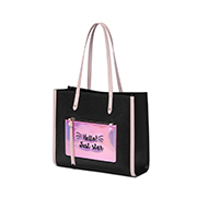 JUST STAR PU 2019 New Fashion Colorful Tote Bag Black