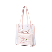 JUST STAR 2019 New Fashion Flower Embroidery Tote Bag Pink