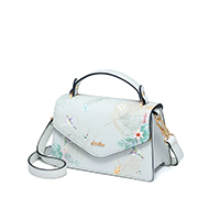 JUST STAR PU 2019 New Season Vintage Printing Shoulder Bag Gray Blue