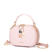 JUST STAR PU 2019 New Lovely Girl Boston Bag Pink