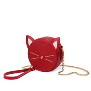 JUST STAR PU 2019 New Lovely Cat Round Bag Red