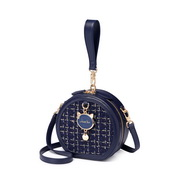 JUST STAR 2019 New Vintage Woolen Round Bag Blue