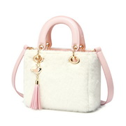 JUST STAR 2019 New Winter Fluffy Handbag White