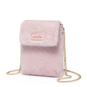 JUST STAR 2019 New Winter Fluffy Phone Bag Pink