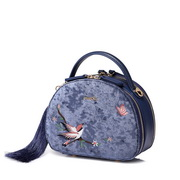 JUST STAR 2019 New Chinese Style Embroidery Shoulder Bag Blue