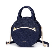JUST STAR 2019 New Cute Cat Round Bag Blue