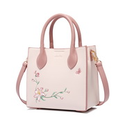 JUST STAR 2020 New Sweet Embroidery Handbag Pink