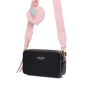 JUST STAR 2020 New Fashion Girl Wide Shoulder Strap Bag Black