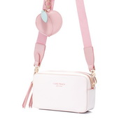 JUST STAR 2020 New Fashion Girl Wide Shoulder Strap Bag White
