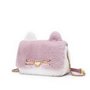 JUST STAR 2020 Cute Cat Design Woolen Sweet Girl Shoulder Bag Pink