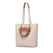 JUST STAR 2020 New Fashion Casual Bear Design Sweet Gril Hand Bag Apricot